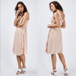 NWT Topshop Nude Pink Ruffle Wrap Dress